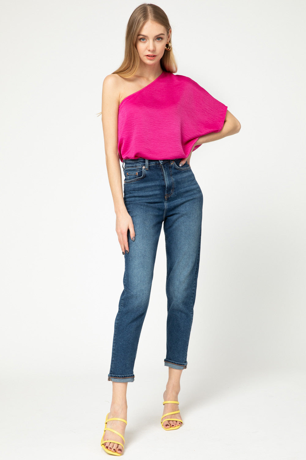 Fuchsia One Shoulder Top