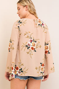 Floral Bell Sleeve Plus