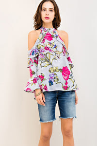 Floral Print Halter Ruffle Top