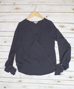 Charcoal Tie Sleeve Cold Shoulder