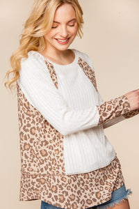 Amanda Leopard Color Block Top