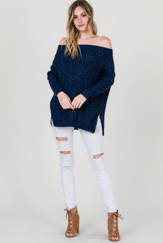Navy Cable Knit Off Shoulder Sweater