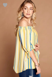 Faux Button Down Striped Off Shoulder Top