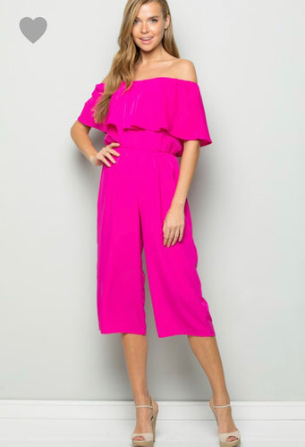 Off Shoulder Cropped Jumpsuit