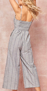 Navy Striped Chambray Jumpsuit