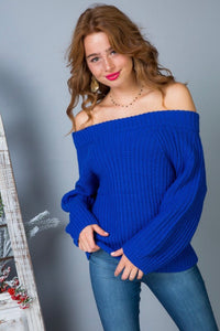 Cobalt Off Shoulder Chunky Sweater