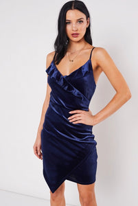 Navy Velvet Mini Dress