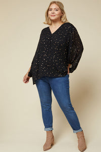 Star Print V-neck Plus