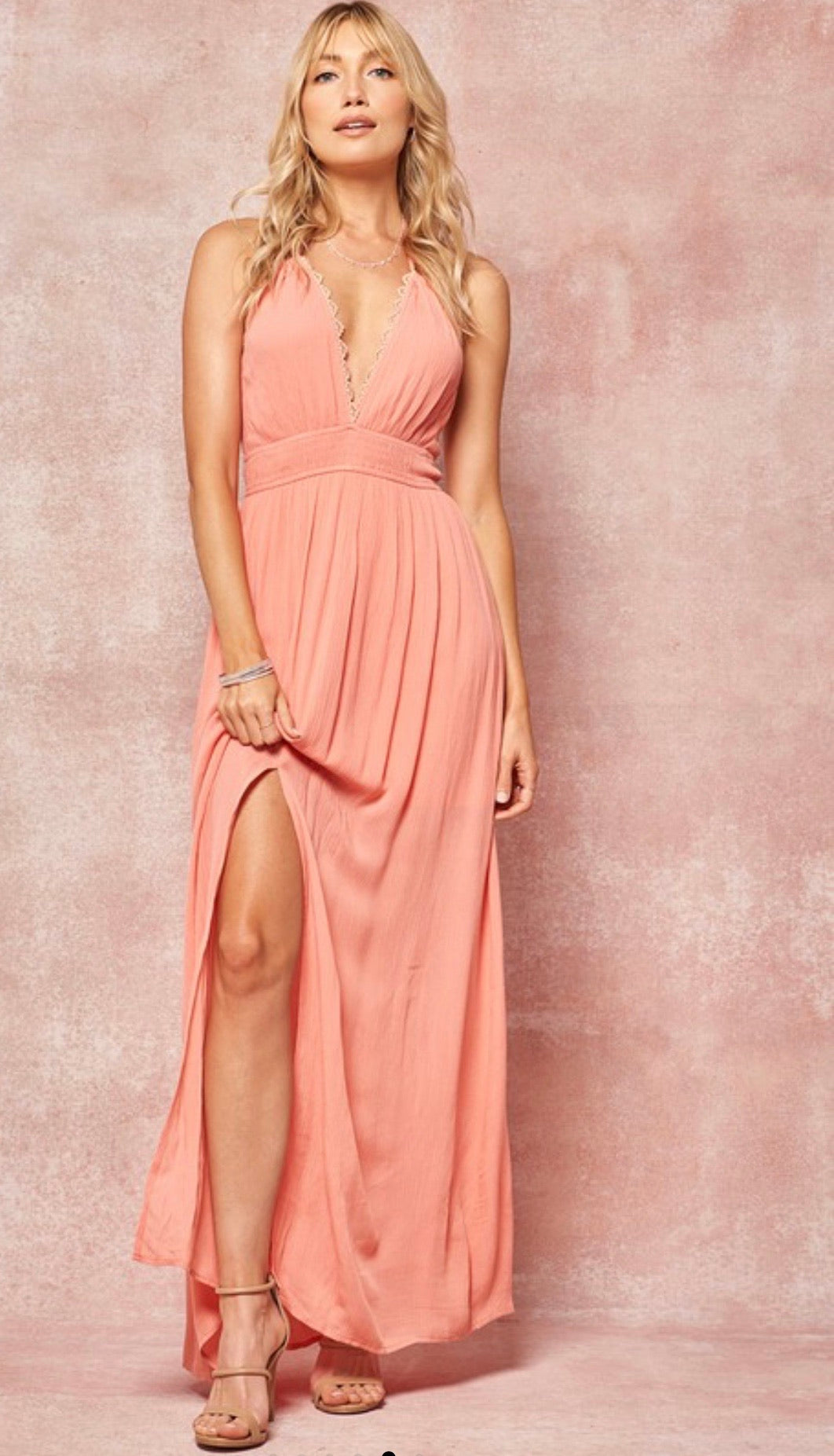 Halter Maxi Dress with Tassel Tie