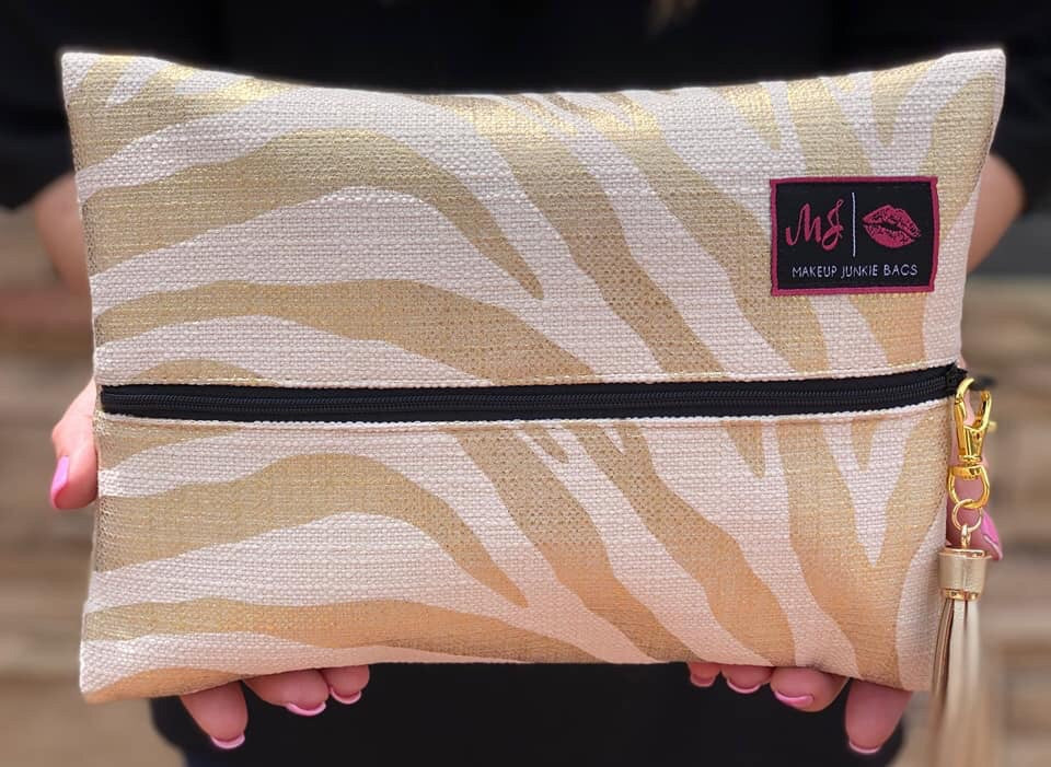 Gold Zebra Makeup Junkie Bag