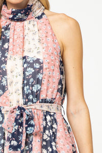 Patchwork Floral Print Dress