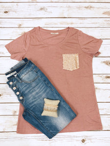 Dusty Pink Sequin Tshirt