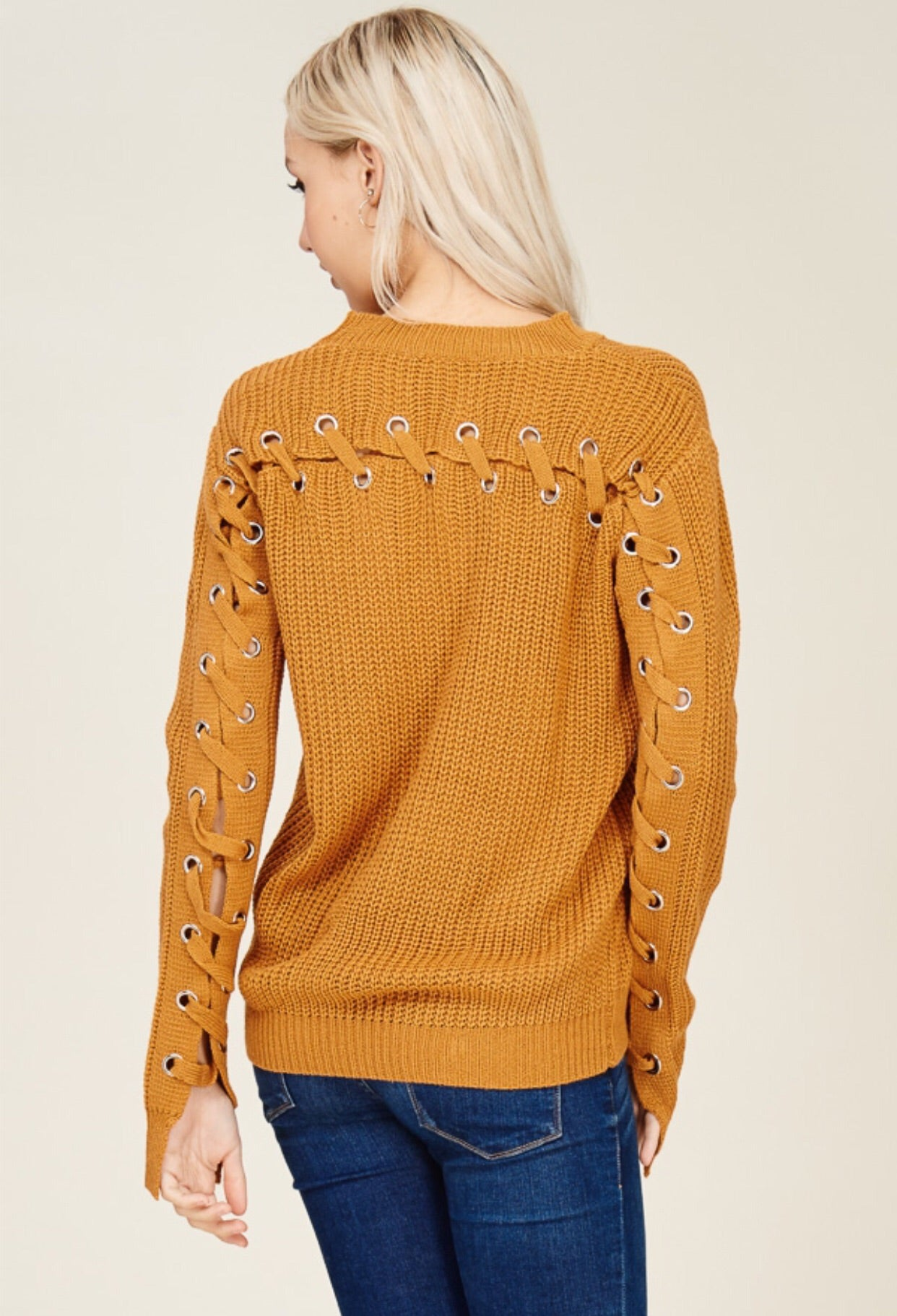 Turmeric Lace Up Sweater