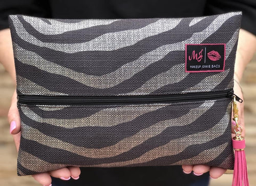 Silver Zebra Makeup Junkie Bag