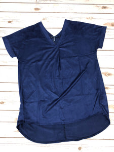 Suede Navy V-neck
