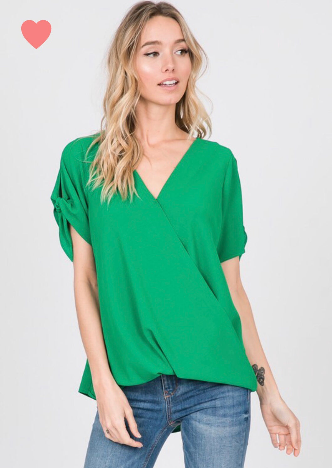 Short Sleeve Surplice  Wrap Front Top