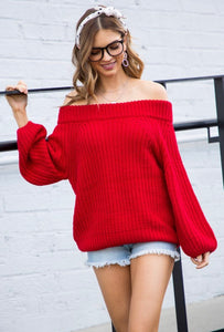 Red Off Shoulder Chunky Sweater
