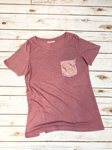Berry Sequin Pocket Tshirt