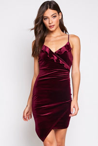 Wine Velvet Mini Dress