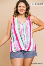 Watercolor Faux Button Front V Neck Top