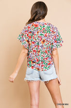 Floral Flutter Sleeve Top