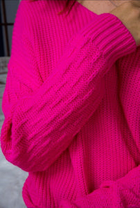 Poppin Pink Twist Back Sweater