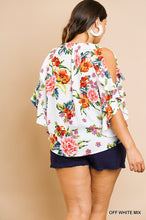 Floral Cold Shoulder Ruffle Sleeve Top