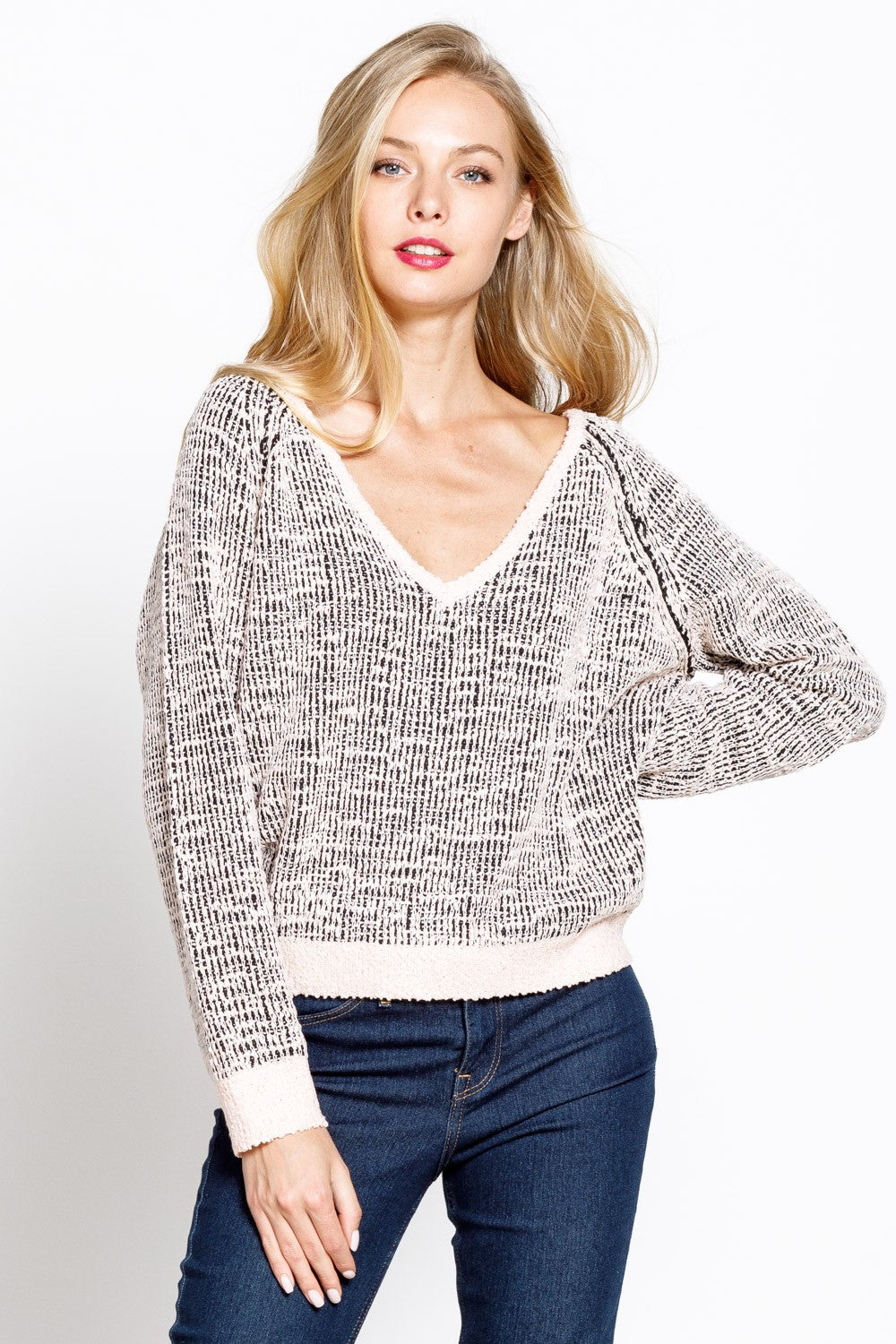 Tweed texture v neck sweater