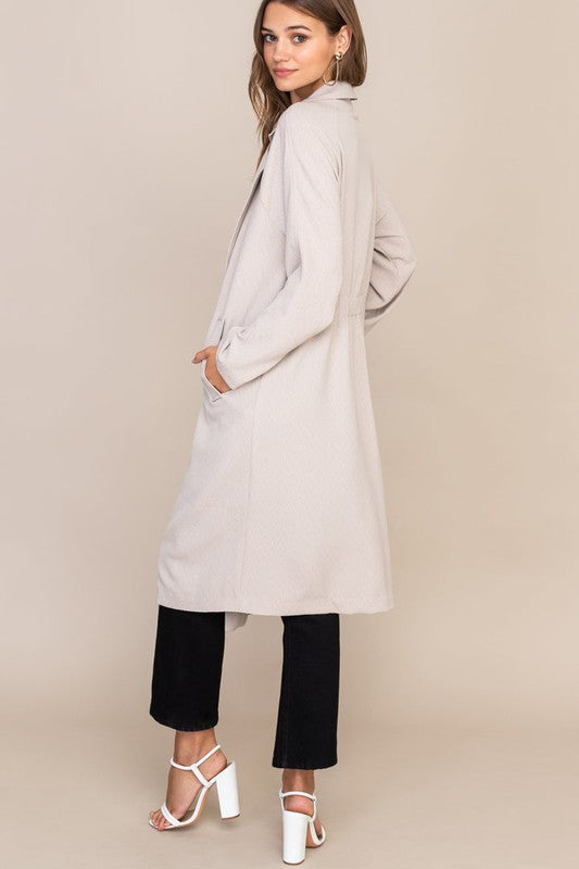 Flowy Textured Trench Coat