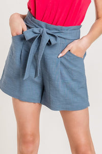 Woven High Waisted Paperbag Shorts