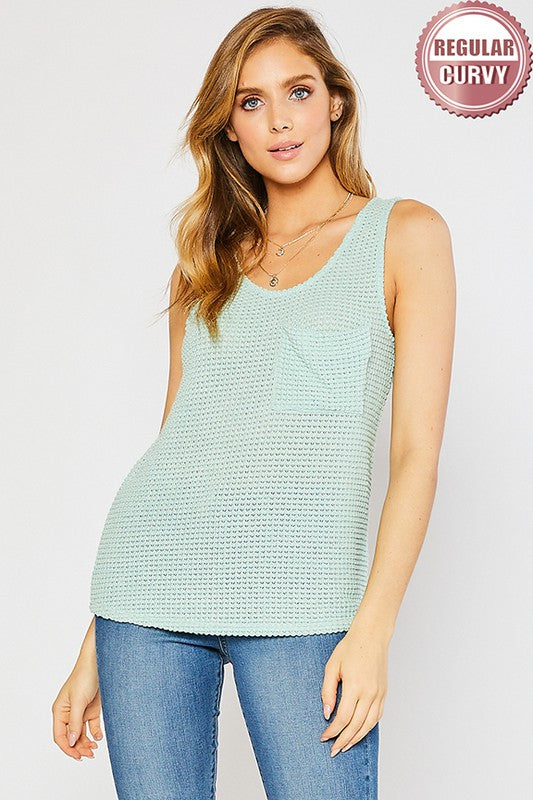 ROUND SCOOP NECK DRAPE POCKET WAFFLE KNIT TOP