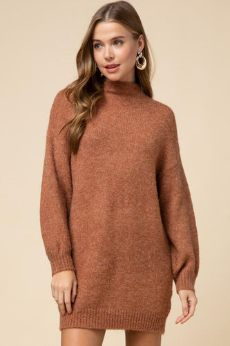 Mock neck sweater dress