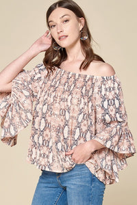 Python Smocked Off Shoulder Top