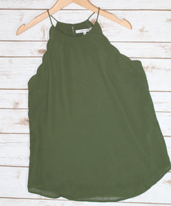Olive Scalloped Tank
