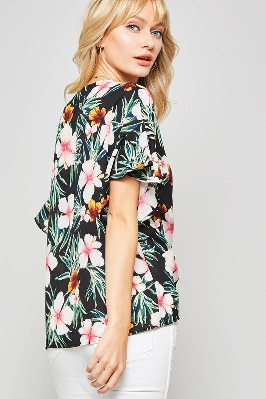 Floral Drawstring Front Top
