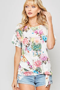 Floral Graphic Front Tie Tee