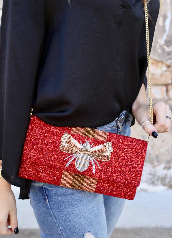 Savannah Bee Beaded Clutch/Crossbody Red