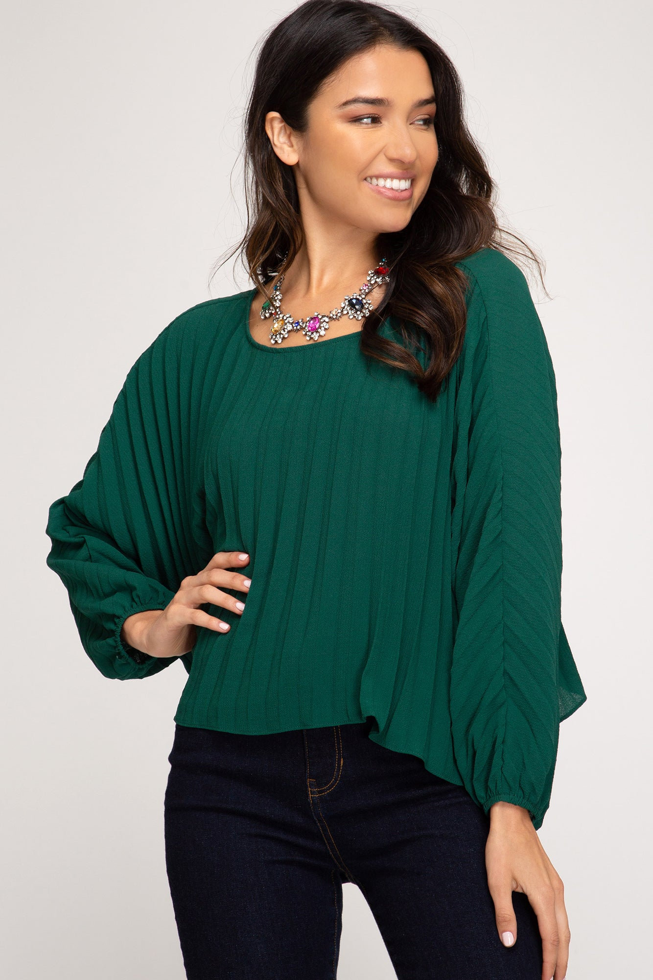 LONG BATWING SLEEVE PLEATED WOVEN TOP WITH BACK TIE DETAIL
