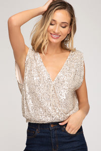SLEEVELESS SURPLICE SEQUINS TOP