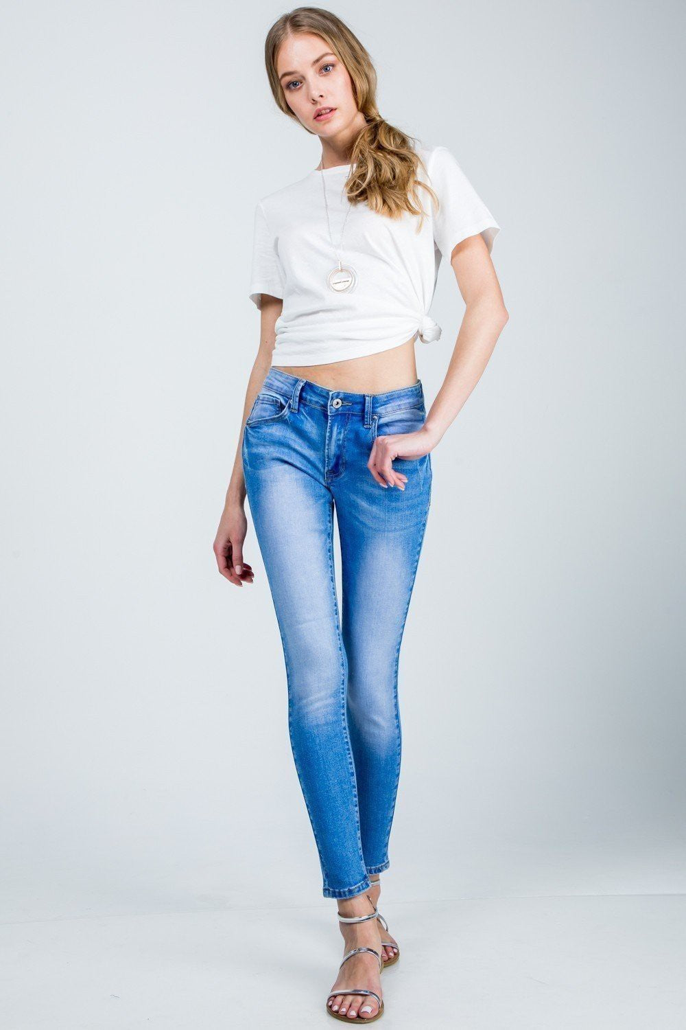Basic Mid Rise Ankle Skinny