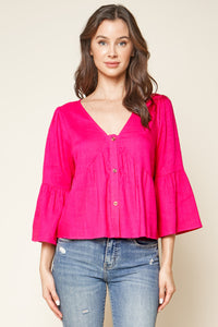 Button Down Peasant Top
