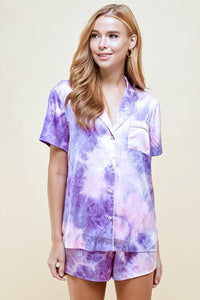 Tie Dye Satin PJ Set with Matching Shorts