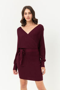 Off Shoulder Wrap Belted Ribbed Knit Dress