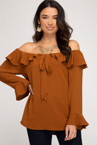 RUFFLED LONG SLEEVE OFF THE SHOULDER WOVEN TOP WITH FRONT TIE DETAIL