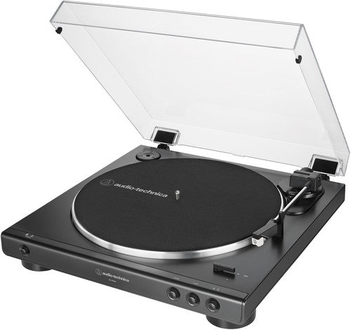 Audio Technica AT-LP60X-BK Fully Automatic Belt-Drive Turntable 33/45 RPM Speeds with Phono Preamp Includes Dust Cover and Dual Magnet Phono Cartridge (Black)