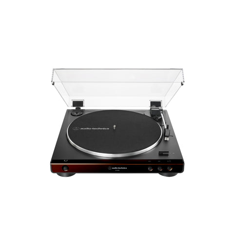 Audio Technica AT-LP60X-BW Fully Automatic Belt-Drive Turntable 33/ 45 RPM Speeds with Phono Preamp Includes Dust Cover and Dual Magnet Phono Cartridge (Brown)