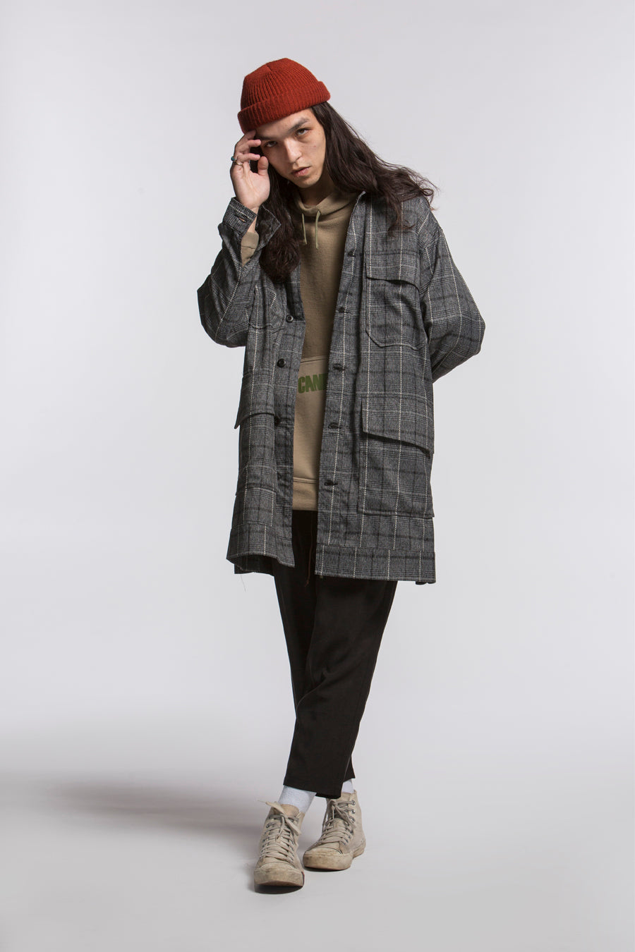 PLAID MILITARY TRENCH COAT