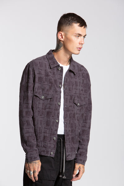 DOBBY TRUCKER JACKET, BLUE