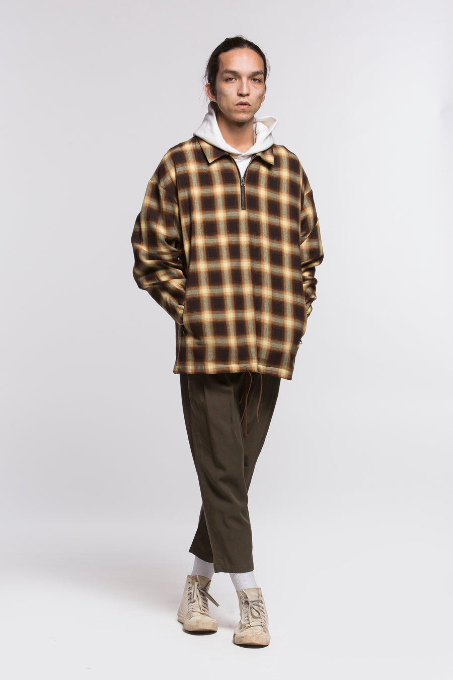 candorofficial - Plaid Zip Pullover Shirt - Shirts