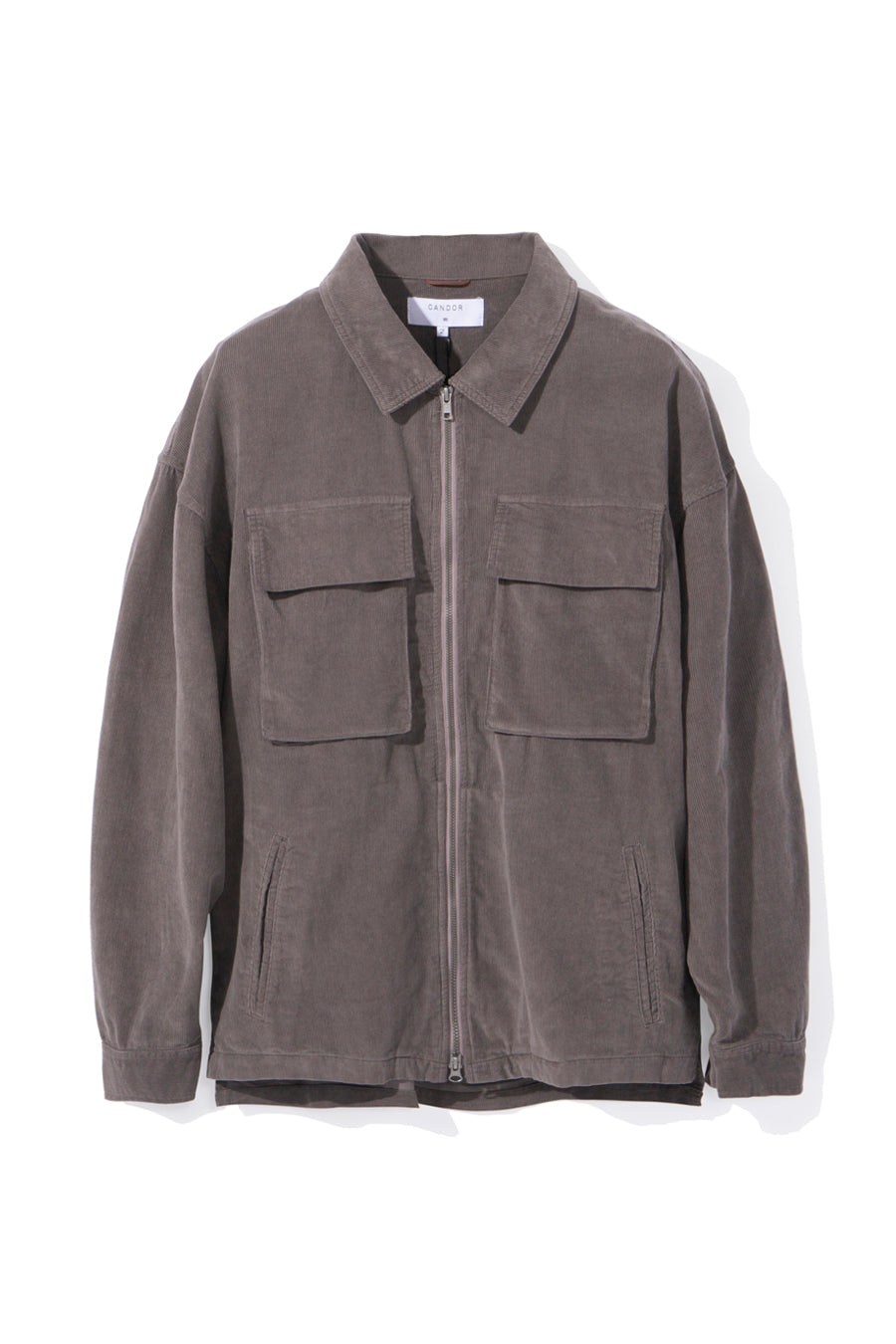 CORDUROY ZIP OVERSHIRT, GREY